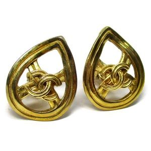 CHANEL Vintage Clip On Cc Coco Pear Shape Earrings